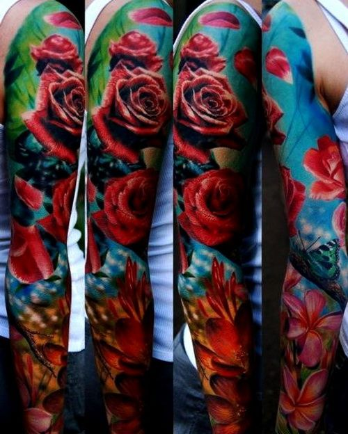 awesome flower sleeve tattoos design