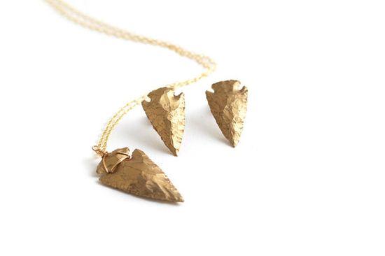 Arrowhead Necklace + Earrings