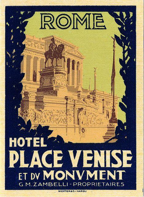 Rome vintage luggage label.