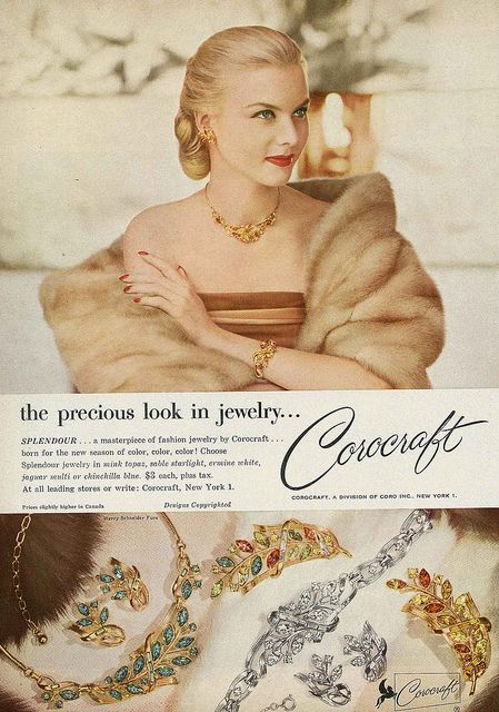 Corocraft for the precious (gorgeous!) look in jewelry. #vintage #1950s #jewelry #necklace #ad #glamour