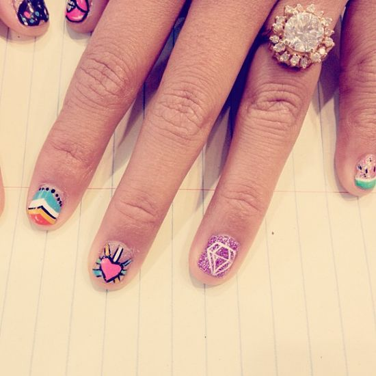 Super sweet #nailart at the office. #urbanoutfitters