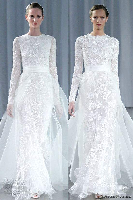monique lhuillier fall 2013 long sleeve wedding dresses a line tulle over skirt
