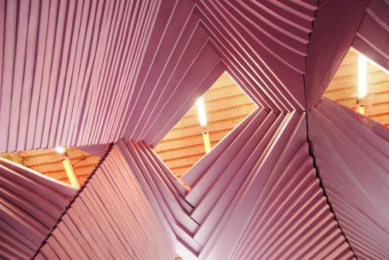 """Loving this """"origami"""" ceiling."""