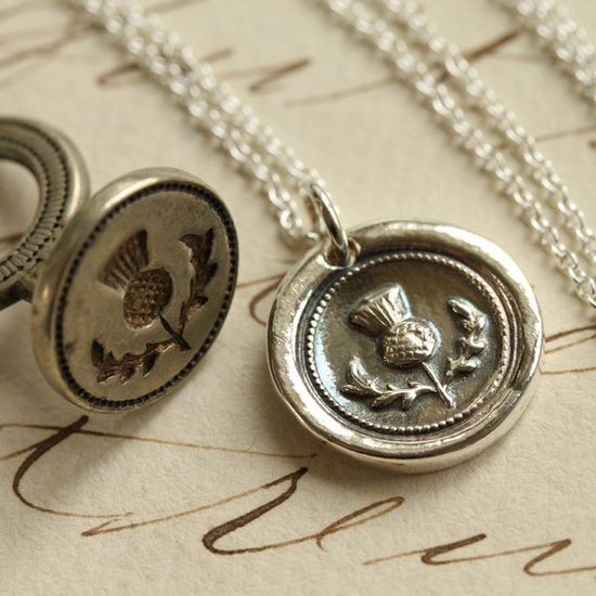 Scottish Thistle Wax Seal Necklace - Fine Silver, Sterling Silver