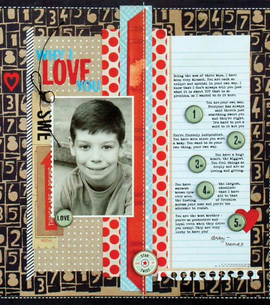 #papercraft #scrapbook #layout Why I love you page -- perfect for a birthday gift, a friend, a parent... so sweet! #scrapbook #MixedMedia @BasicGrey LLC