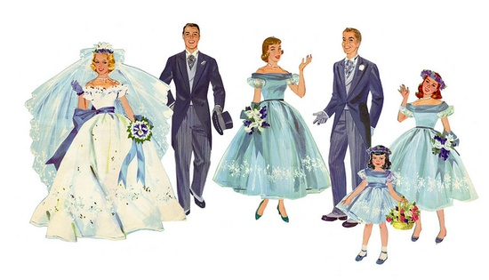 A sweetly blue hued 1950s wedding from a book of paper dolls. #1950s #fifties #retro #vintage #wedding