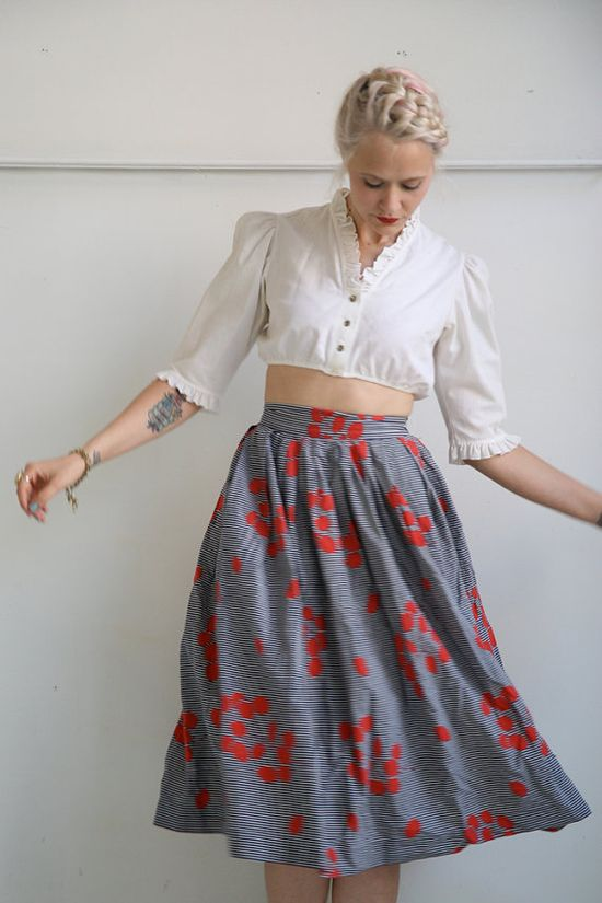 1950s Skirt // Blooming Stripes // Vintage by dethrosevintage, $45.00