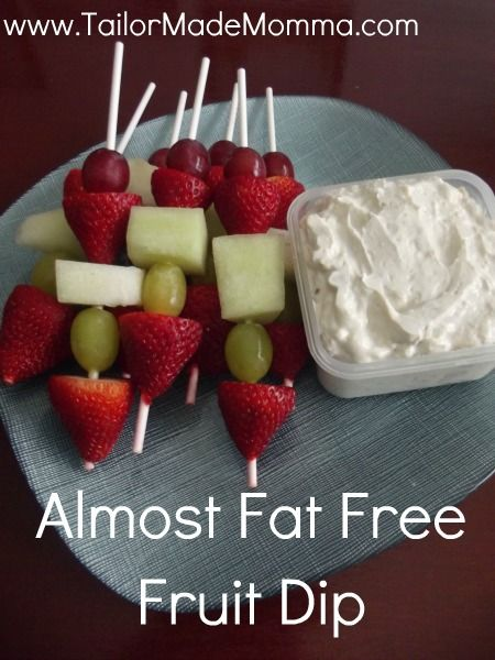 Almost Fat Free Fruit Dip - And I love these little fruit kabobs!