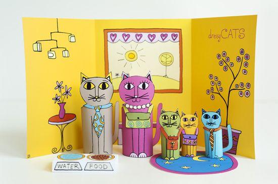 משפחת חתולים מנייר