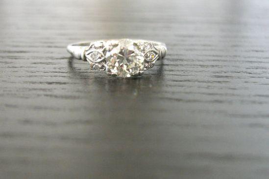 Vintage Edwardian platinum diamond engagement ring #etsy