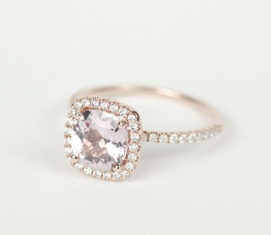 Certified Peach Pink Cushion Sapphire Diamond Halo Engagement Ring 14K Rose Gold. via Etsy.