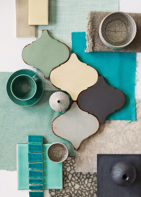 Colors... sage, aqua, teal, gray, taupe...love the tile and colors!!