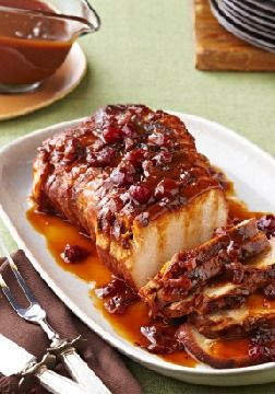Slow-Cooker Cranberry-Orange Pork Roast – Cranberry sauce and the juice and zest of an orange work their tasty magic in the slow cooker so you can come home to sweet and tart roast pork.