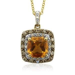 Brown Diamond and Citrine pendant. Very very nice