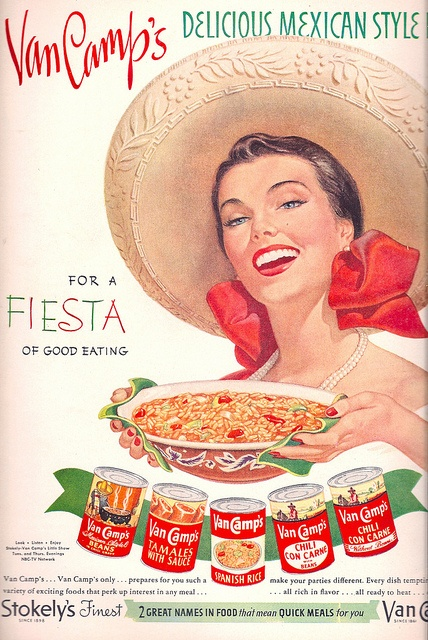 Love her classic, wonderfully pretty make-up and red bow! #food #ads #1950s #Mexican #fifties #beautiful