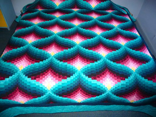 Amish Quilt Light In The Valley Pattern New Teal Green Rose and Yellow Must See. $2,050.00, via Etsy.