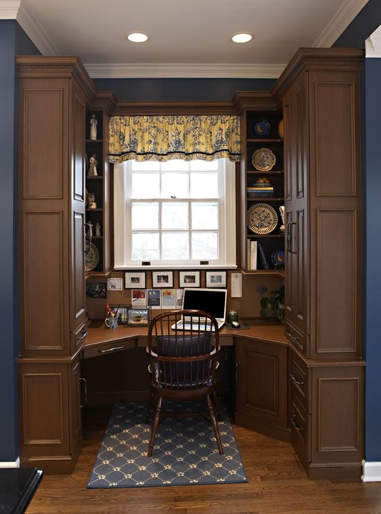 Interesting home office design. #office #home #design #cabinets #desk