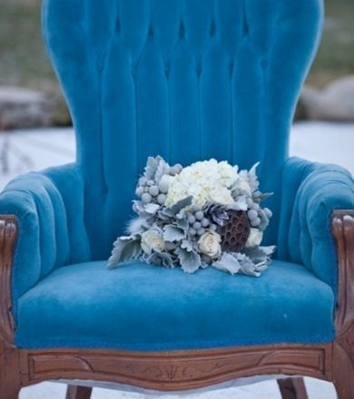 bouquets rustic lambs ear rose pinecone honeycomb.    turquoise vintage  lounge chair furniture.    The