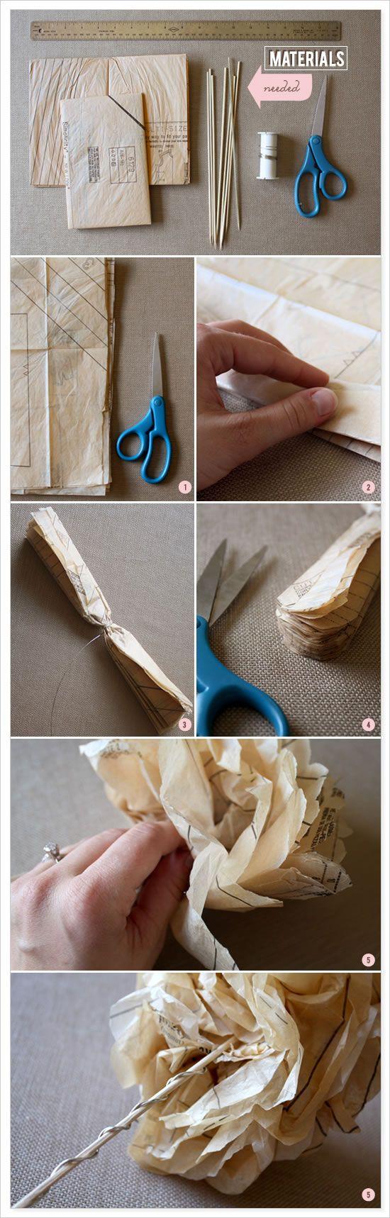 #DIY Sewing Pattern flowers #vintage #wedding #bride #craft #upcycle