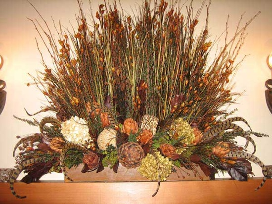 Natural Dried Flower and Feather Arrangement