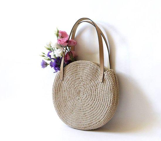 Round crochet tote bag Vegan handbag Summer beach Bali beige | Etsy