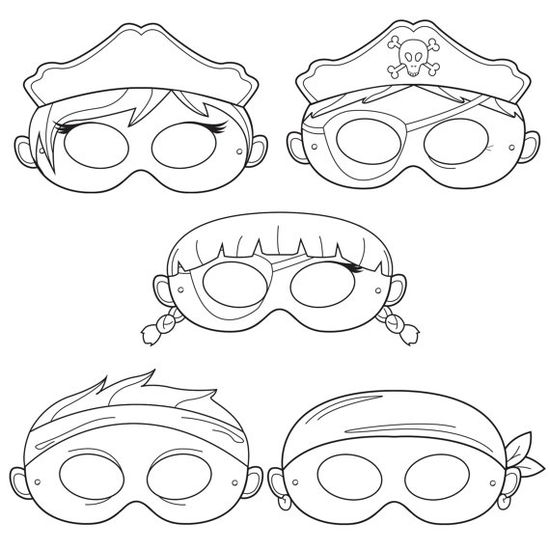Pirates Printable Coloring Masks pirate mask captain