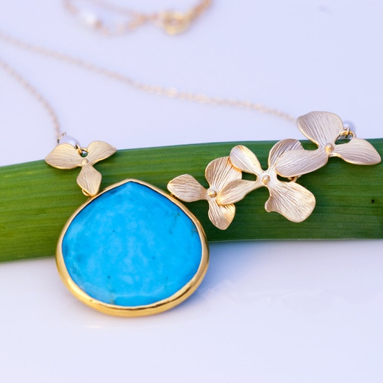 Large Turquoise Drop Bezel Necklace 16k Gold Orchid Flowers and 14k Gold Filled Chain #turquoise #turquoiseNecklace #bridalJewelry $59.00