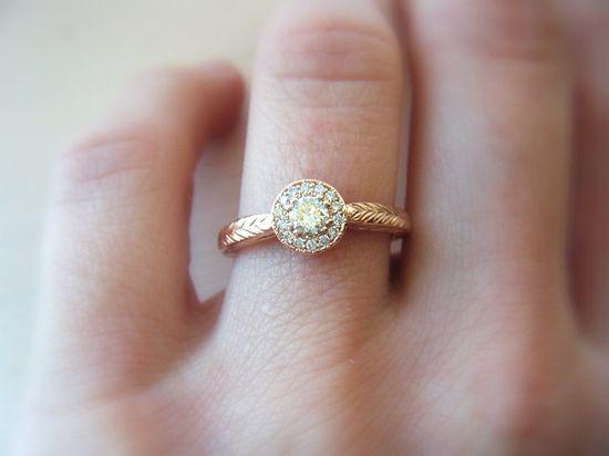 Diamond Engagement Ring Diamond Halo 14K Rose Gold Pink Gold Hand Engraved. $1,480.00, via Etsy.