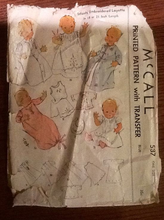 1937 Vintage McCall  537 Sewing Pattern    Embroidered Baby Clothes   Layette