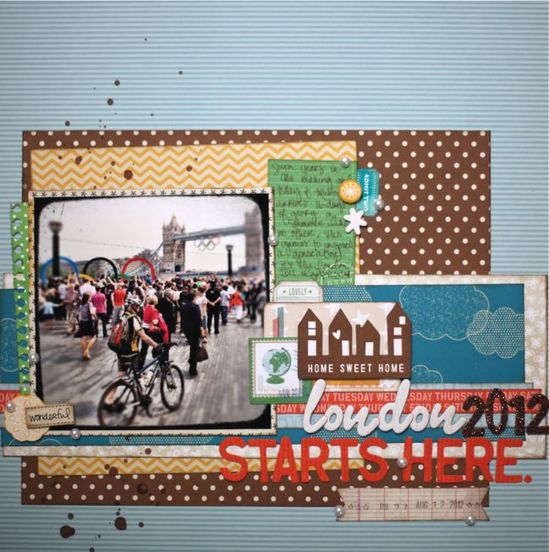 London 2012 Starts Here - by Shimelle Laine using the Amy Tangerine collections from American Crafts. #amytangerine #london2012 #scrapbook #layout #americancrafts