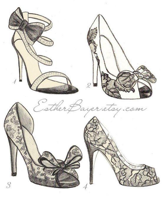 High Heel Shoe Fashion Illustration Original Black & White Valentino Drawing Custom Print. $15.00, via Etsy.