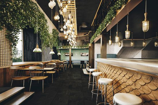 Le studio de design global russe Bumblebee présente l'identité visuelle ainsi que l'architecture d'intérieur du restaurant Holy Smoke. #design #restaurant