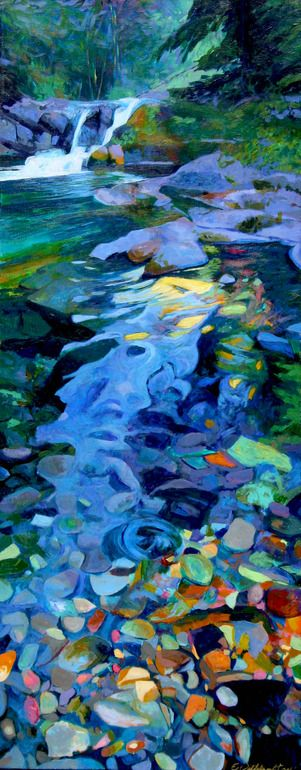 "Saatchi Online Artist: Ellen Dittebrandt; Acrylic, 2004, Painting ""Blue cool Creek""  Once again, the magic of painted water!"