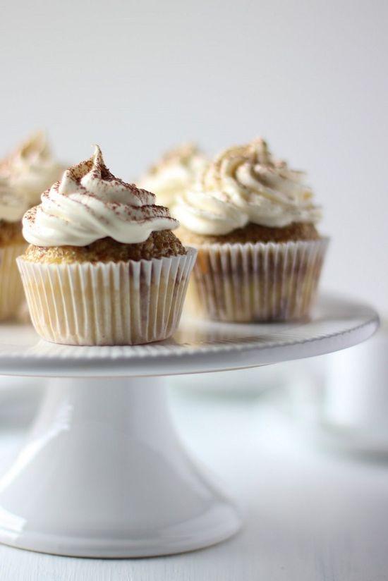 tiramisu cupcakes with whipped mascarpOne frosting