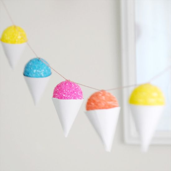 DIY Faux Snow Cone Party Garland & Gift Embellishment