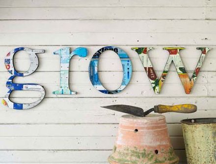 wooden letters with old magazine mod-podged -- yesss....