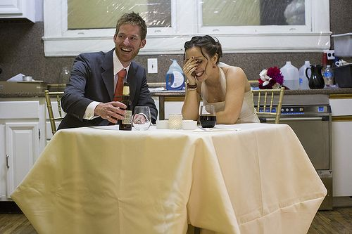 Eat dinner privately together BEFORE your reception so you have time to eat!  SO SMART!