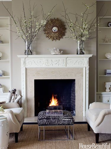 Serene fireplace. Design: Benjamin Dhong. housebeautiful.com. #fireplace #living_room #neutral_colors #zebra_print