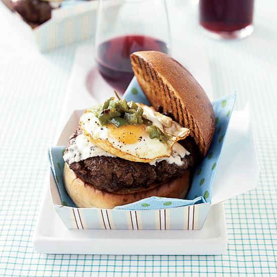 Green-Chile Burgers with Fried Eggs // More Burger Recipes: www.foodandwine.c... #foodandwine