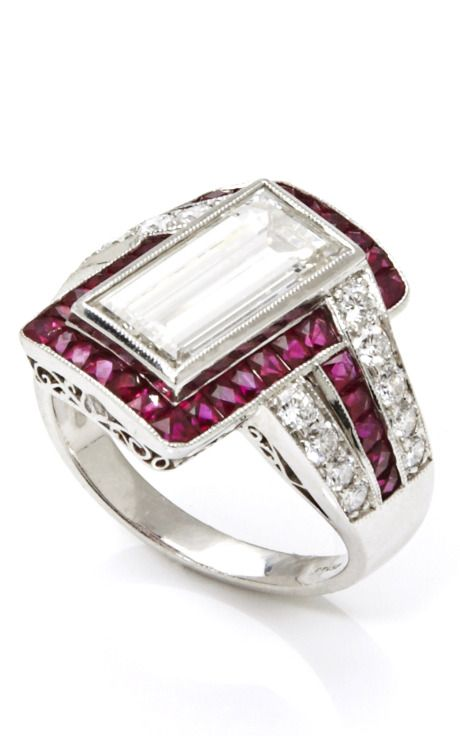 Tara Compton Platinum Estate Ring with Diamonds and Rubies