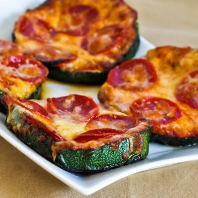GRILLED ZUCCHINI PIZZA SLICES –    -large zucchini slices, cut 3/4 inch thick  –