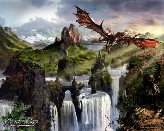 Scenic view with flying dragon wallpaper
