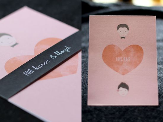 the most adorable wedding invites I have ever seen by Rachel of Elephantine.
