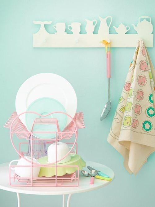 Sweet pastel kitchen styling