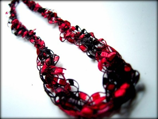 Necklace Red Black Ribbon Crochet
