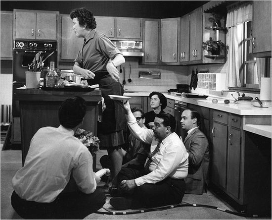 "Julia Child on the set of ""The French Chef"""
