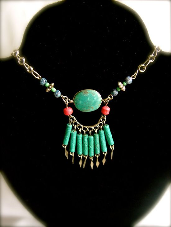 Lovely Necklace/Collar with a modern but native look by globalpieces, $28.00 #turquoise #jewelry #teamwwes