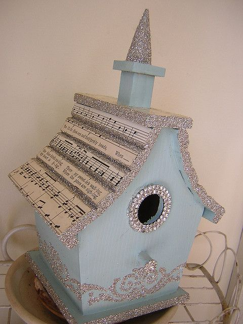 glittery bird house