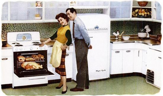 :) #food #vintage #kitchen #ad #1950s #couple #homemaker #housewife
