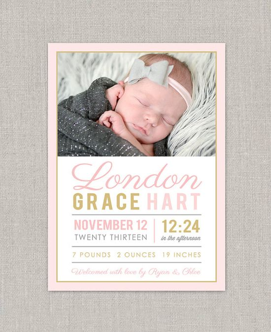 Baby Girl Birth Announcement - London